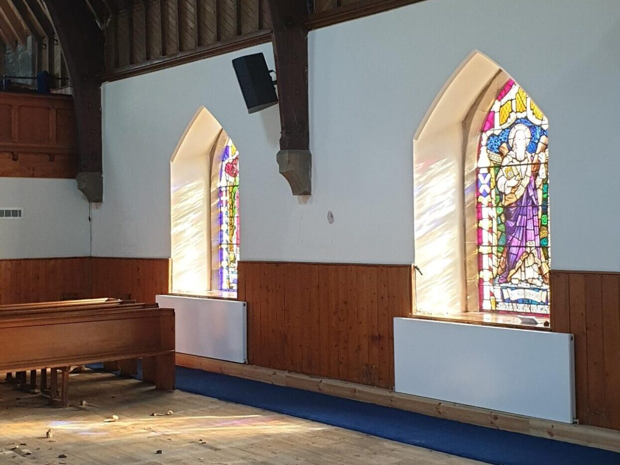 Sash and case church windows with stained glass
